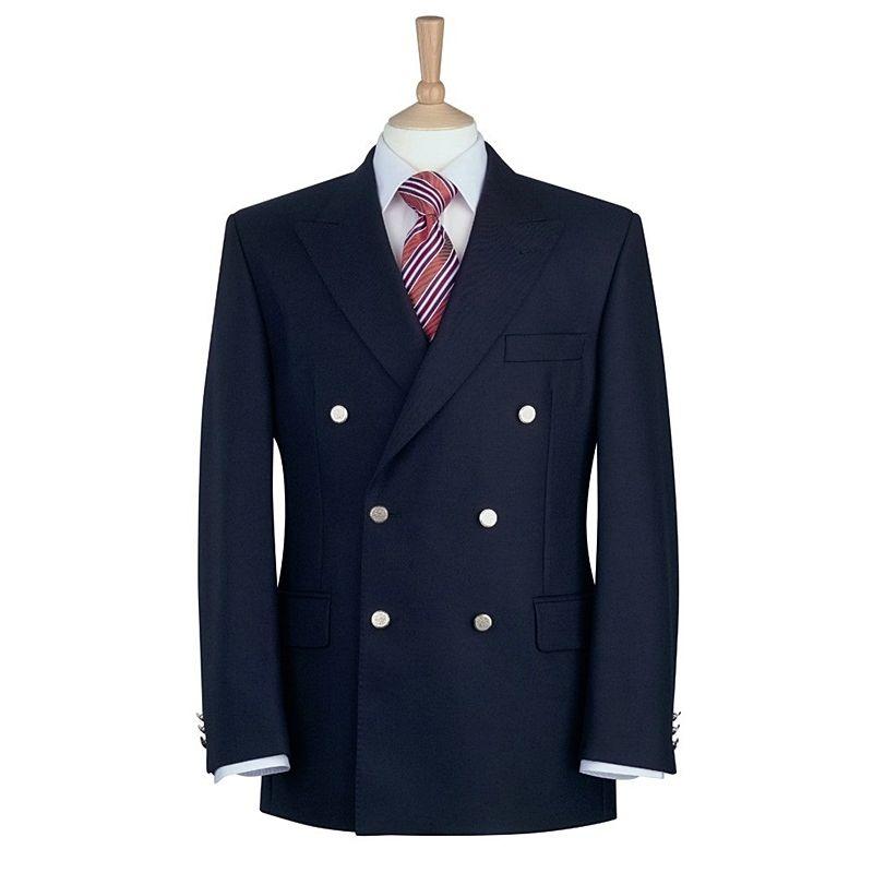 Blazer crois homme double rang es de 3 boutons m tal pure laine vierge - Blazer bleu marine homme ...