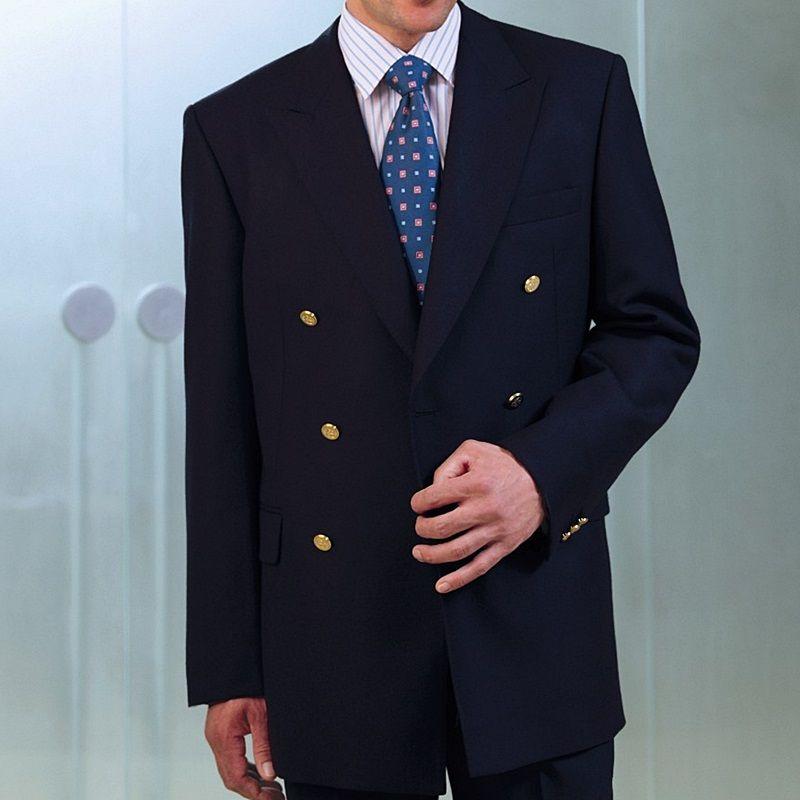 Blazer crois homme deux rang es de 3 boutons m tal pure laine vierge - Blazer homme bleu marine ...