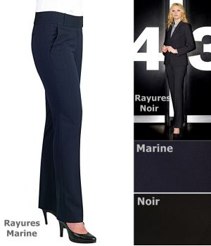 Pantalon femme, Jambe étroite 2 poches latérales 2 fausses poches au dos