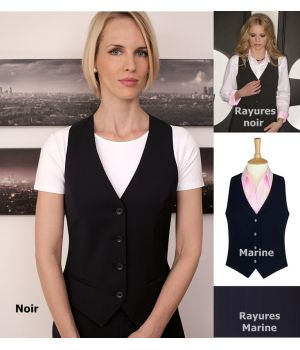 Gilet femme, 4 boutons 2 poches passepoilées