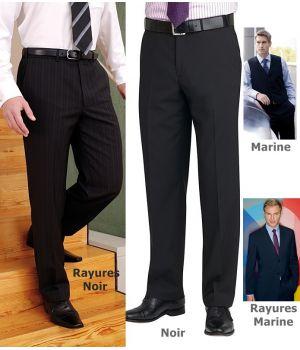 Pantalon de costume homme, Sans pinces, 2 poches latérales, 1 poche arrière