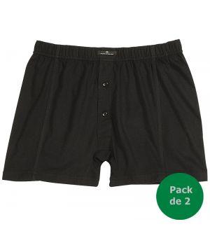 Short noir sous vêtement homme, Bande confort à la taille, 100% coton, Pack de 2
