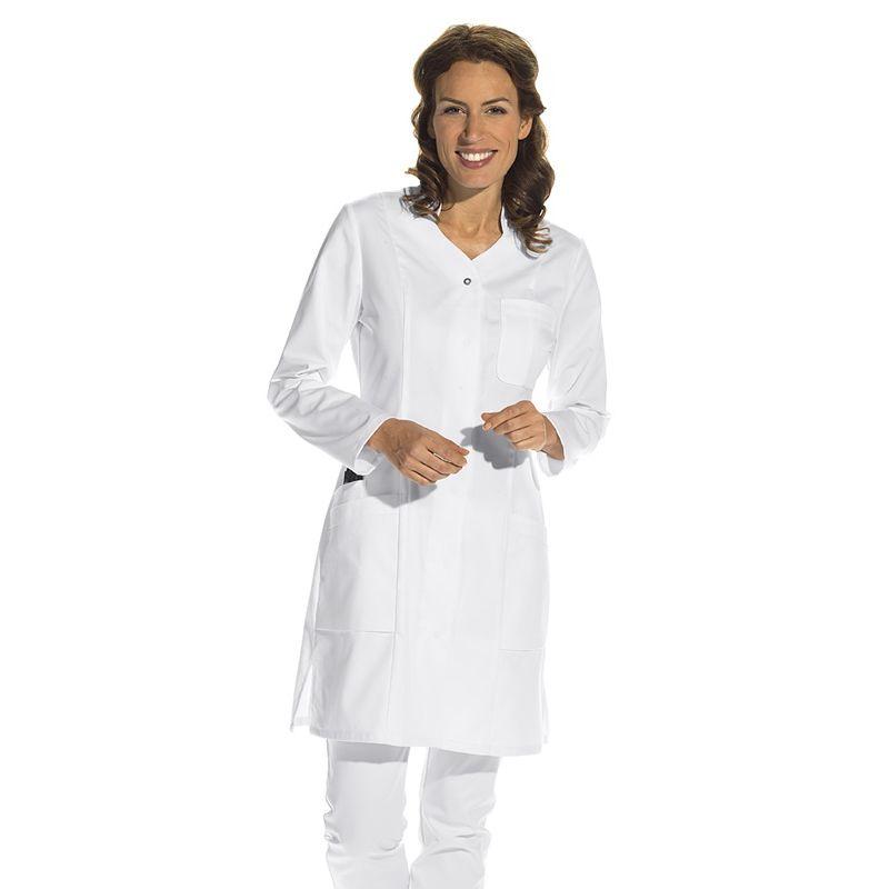 blouse blanche mi longue pour femme manches longues col officier. Black Bedroom Furniture Sets. Home Design Ideas