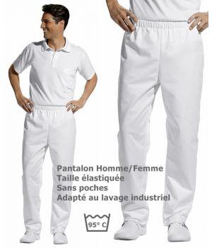 Pantalon blanc unisexe, taille élastiquée, peut bouillir, Sans poches
