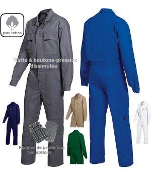 Combinaison de travail, Taille élastiquée réglable au dos, 100% coton