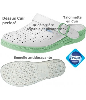Sabots professionnels, Dessus et semelle intérieure cuir, Dessus perforé, blanc et vert