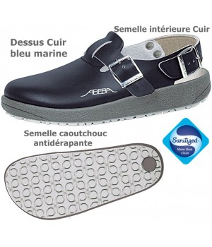 chaussures de travail, Dessus en cuir, Semelle antidérapante, Bleu marine
