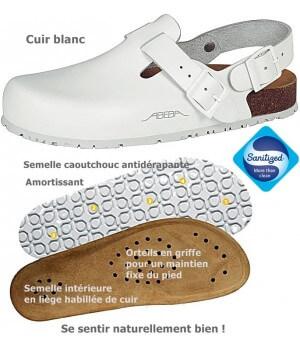 chaussures de travail, Dessus cuir, Semelle antidérapante, Blanches