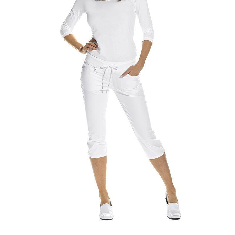 pantacourt femme blanc taille lastiqu e c tes 5 poches bi stretch. Black Bedroom Furniture Sets. Home Design Ideas