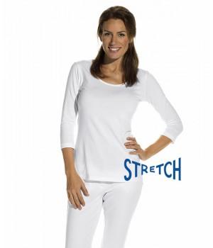 T-shirt femme, Blanc, manches ¾, Col rond, Coupe cintrée, Stretch