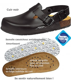 chaussures de travail, Dessus cuir, Semelle antidérapante, Noires