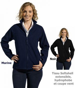 Veste Softshell femme, Tissu extensible hydrophobe et coupe vent