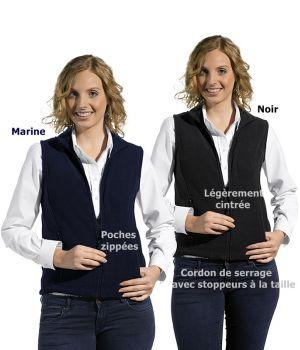 Gilet polaire femme, Cordon de serrage, 2 poches zippées, Légèrement cintrée