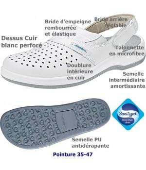 Chaussures de travail, Dessus et semelle intérieure cuir, antidérapante, Blanc