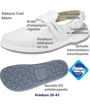 chaussures de travail, Dessus et semelle intérieure cuir, Semelle antidérapante, Blanc