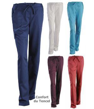 Pantalon femme, Ceinture réglable par cordon de serrage, Confort du Tencel