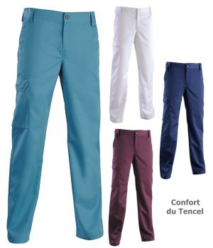 Pantalon Homme, Ceinture élastiquée côtés fermée par bouton, Confort du Tencel