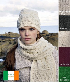 Echarpe Irlandaise, 100% Laine Mérinos extra douce, respirante
