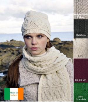 Bonnet Irlandais, 100% Laine Mérinos extra douce, respirante