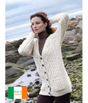 Douce Irlandais V Cardigan Mérinos Pour Col En Laine Extra Écru Femme fFqWw6qnz