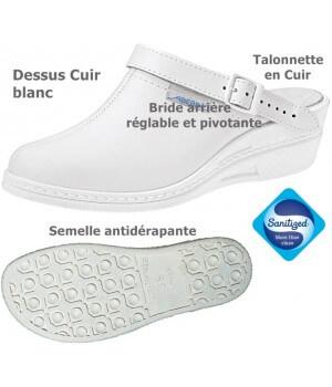 Chaussures sabot de travail, Dessus et talonnette cuir, Semelle antidérapante, Blanc