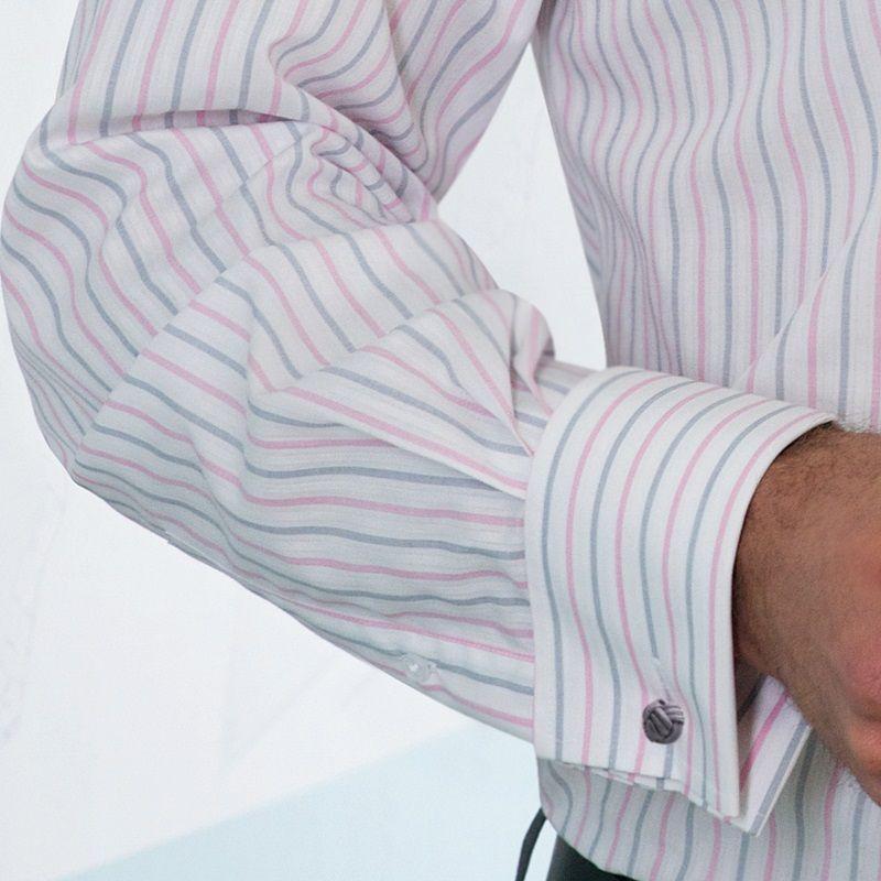 chemise manches longues rayures rose et gris boutons. Black Bedroom Furniture Sets. Home Design Ideas