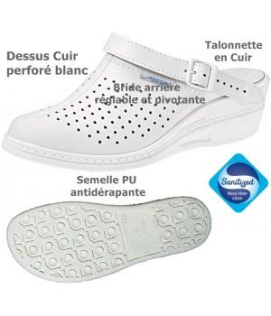 Chaussures de travail cuir blanc, Dessus et talonnette cuir, Semelle antidérapante, Dessus perforé