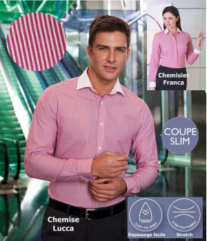 Chemise, Coupe Slim Fit, Manches longues, Rayures Rouge et blanc, Stretch