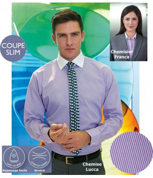 Chemise, Coupe Slim Fit, Manches longues, Rayures Lilas et blanc, Stretch