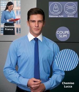 Chemise, Coupe Slim Fit, Manches longues, Rayures Bleu et blanc, Stretch