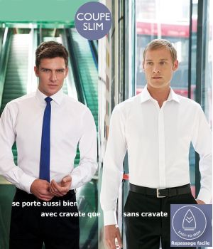 Chemise blanche, Coupe Slim Fit, Manches longues, Polyester Coton
