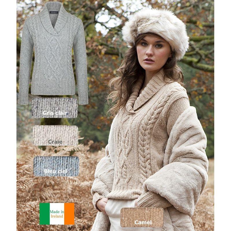 pull irlandais femme laine et cashmere chaud et doux col ch le. Black Bedroom Furniture Sets. Home Design Ideas