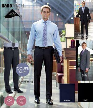 Pantalon de costume Homme, Coupe Slim, Sans pinces, 2 poches avant