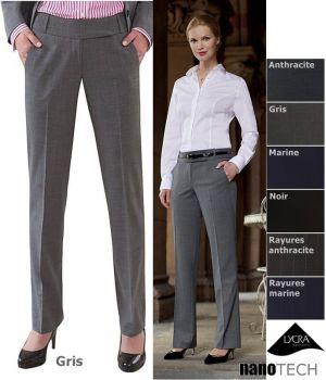 Pantalon femme chic, coupe droite, 2 poches avant