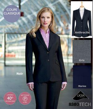 Veste Femme chic, Coupe classique, 2 boutons, 2 poches avant, Fente centrale