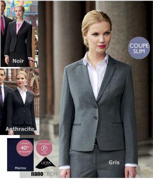 Veste Femme cintrée, chic et habillée, 2 boutons, Revers simple, 2 poches avant