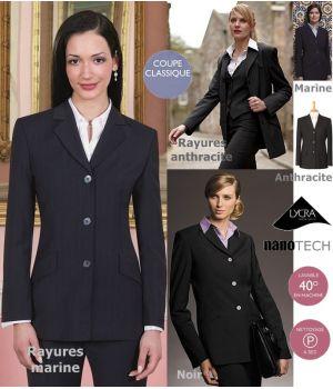 Veste femme, 3 boutons, 2 poches, pour un look impeccable, résistant et peu froissable