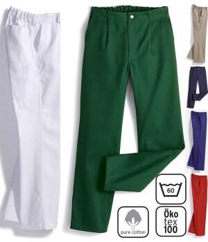 Pantalon travail homme, Garanti grand teint, 100% coton, Elastique au dos