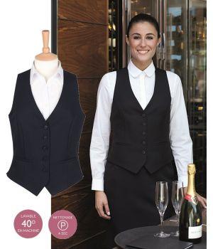 Gilet barman Femme, Noir, 5 boutons sur le devant, 100% polyester