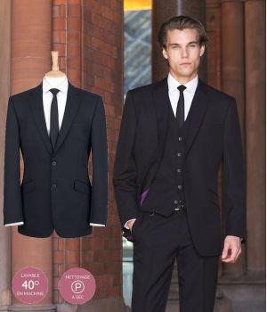Veste Homme noire, Coupe ajustée, Simple boutonnage, 100% polyester
