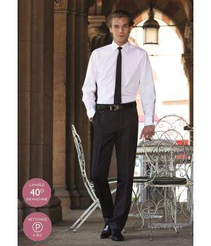 Pantalon noir homme, Coupe ajustée, Sans pinces, 100% polyester