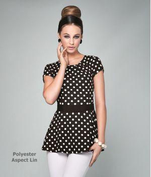 Tunique esthétique à volants, Col rond, 100% polyester, aspect Lin
