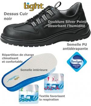Chaussures de Travail Dessus cuir Grand confort antidérapante Noir