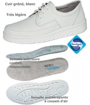 chaussures de travail Cuir Coussin d'air Antidérapant Antistatic Blanc