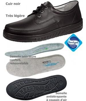 chaussures de travail, noir, Cuir, coussin d'air, antidérapantes