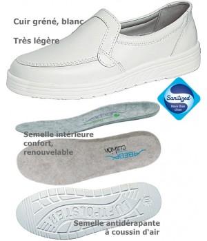 chaussures de travail, Cuir, Semelle coussin d'air, Blanc