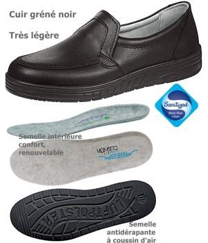 chaussures de travail, Cuir, Semelle coussin d'air, Noir