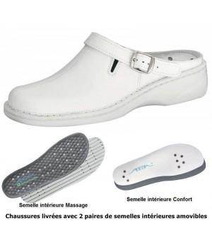 chaussures Reflexor Femme Semelle massante Cuir blanc Cousu main