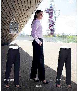 Pantalon femme, Jambe droite, 2 poches latérales, Polyester et Viscose