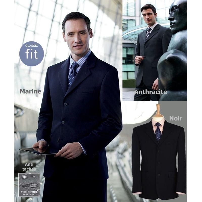 veste homme coupe classique 3 boutons devant polyester. Black Bedroom Furniture Sets. Home Design Ideas